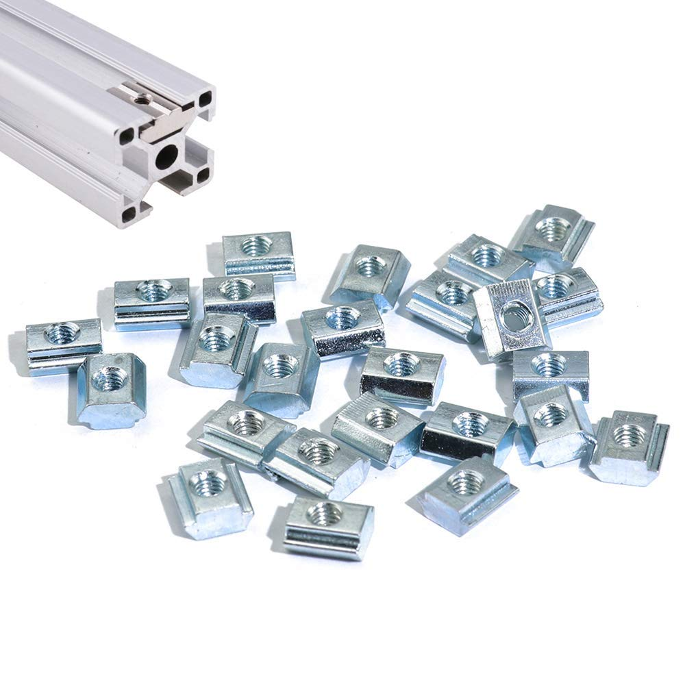 Boeray 50pcs M5 Slide in T Nut Drop in Nut for Aluminum Extrusion with Profile 2020 Sereis Slot 6mm