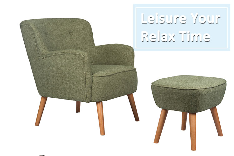 Wholesale Modern Design Lounge Armchair Relax Furniture Long Fabric accent Chair With Ottoman