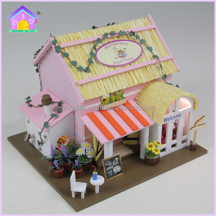 DIY Wooden dollhouse miniature with simulation furniture and light for kids