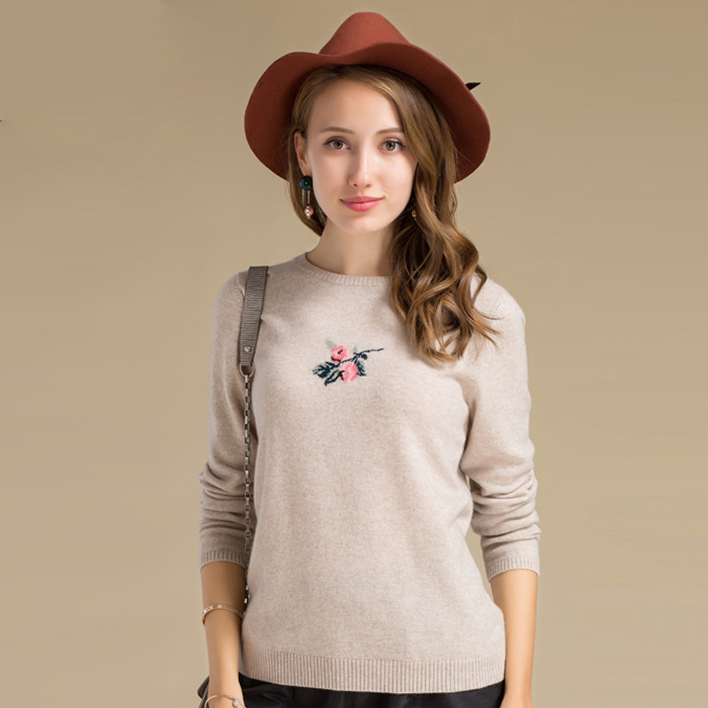 Best Price Comfortable Round Neck Collar Embroidered Pullover Cashmere Sweater