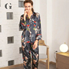 Latest Sexy Nightwear Designs Satin 100% Silk Pajamas Women Printed Classic Nightwear