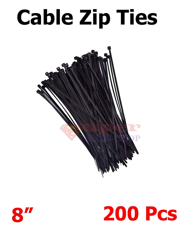 "200 Pieces 8"" Black Zip Cable Ties Cable Zip Ties Heavy Duty Zip Ties Nylon Cable Ties Super-Deals Shop"