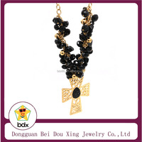 Stainless Steel Religious Black Crystal Rosary Crucifix Cross Statue 18K Gold Necklace Jewelry|Crucifix Of Jesus Necklaces