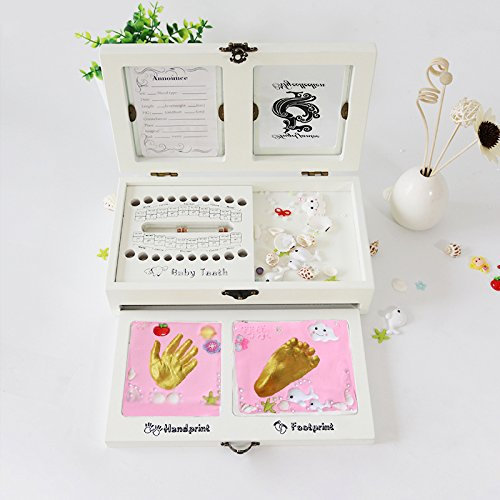 Baby Footprint And Teeth Box With Picture Frame Keepsake Gift Set ...