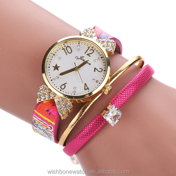 Brand Watches Women Casual Dress Crystal Leather Wrap Bracelet Watch Las Clic Quartz Wrisches Mx384b