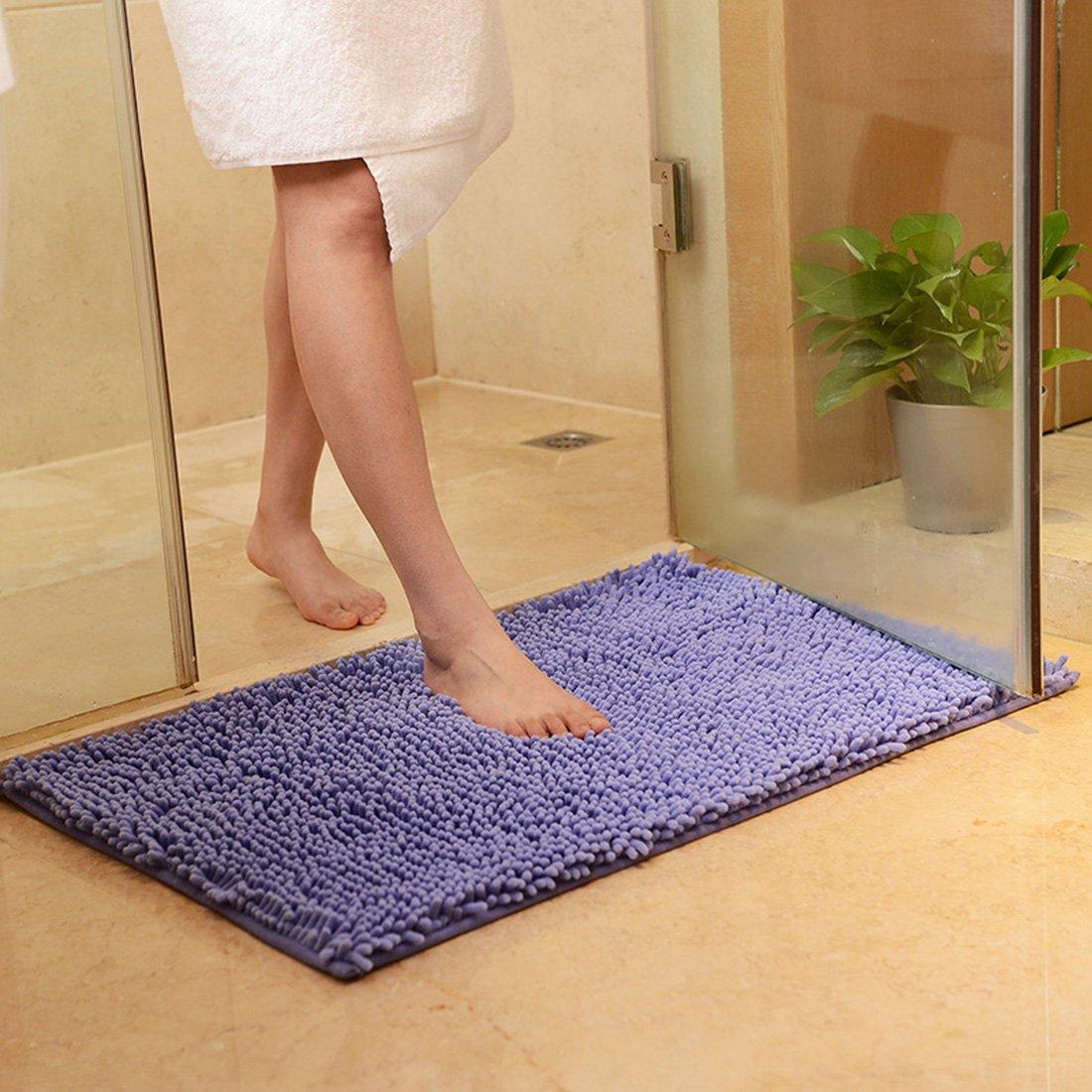 JTENGYAO Non-slip chenille fabric Shag Bathroom Mat, 17.7 x 27.5-Inches