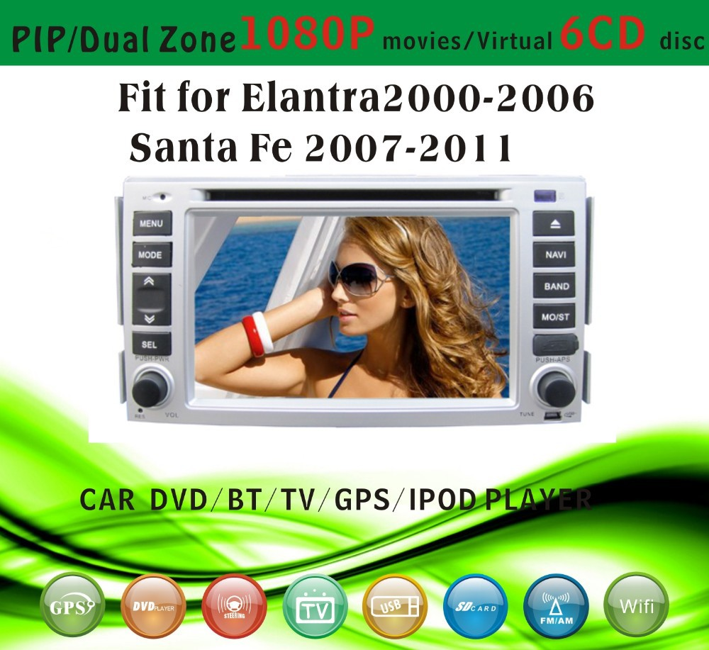 car gps and reverse camera fit for Hyundai Santa fe 2007 - 2011 with radio bluetooth gps tv pip dual zone