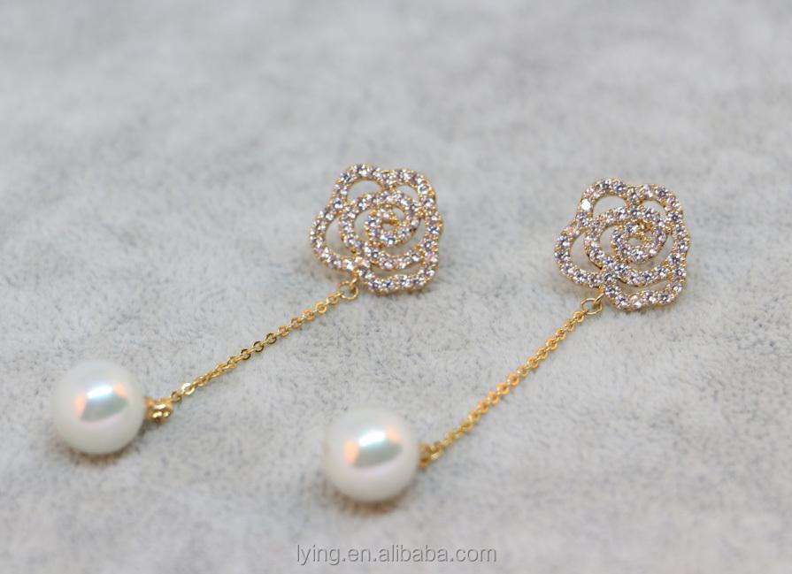 Rose Stud Earrings 2017 New Design Diamond Earrings Square Jwelery ...