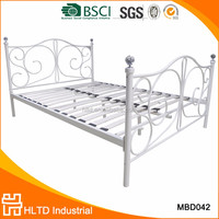 Modern wrought iron metal frame double bed with crystal decor
