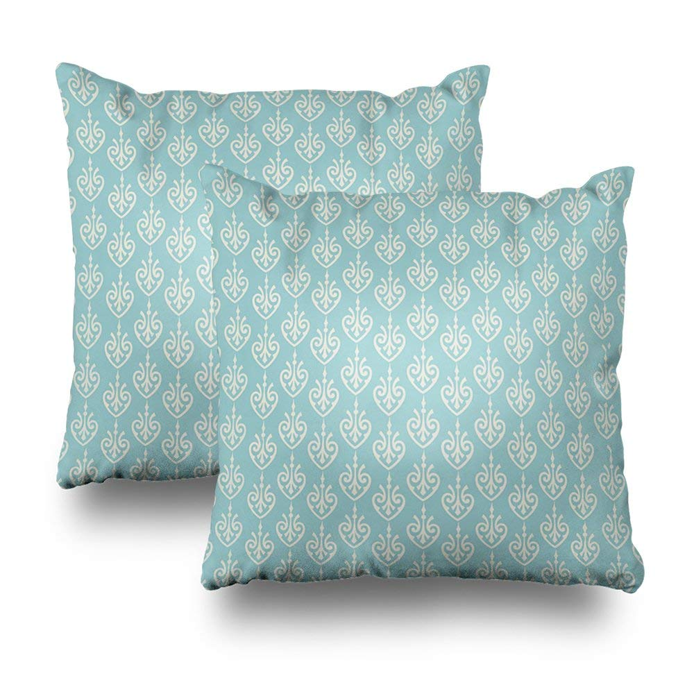 "soopat Decorative Pillow Cover Pack Of 2, 18""X18"" Two Sides Printed Turquoise And Cream Pattern Decorative Throw Pillow Cases Decorative Home Decor Indoor/Outdoor Nice Gift Kitchen Garden Sofa Be"