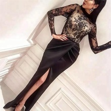 Sexy Long Sleeve Evening Gown Slit Long Sleeve Lace Black Evening Dresses for Matured Women