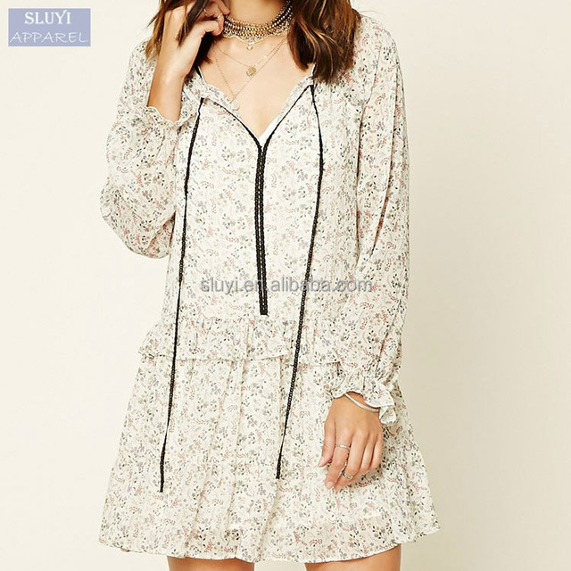 53c7e4c5401 Elegant chiffon casual dress ladies comfortable white folds ruffle western  dresses names long sleeve floral dress