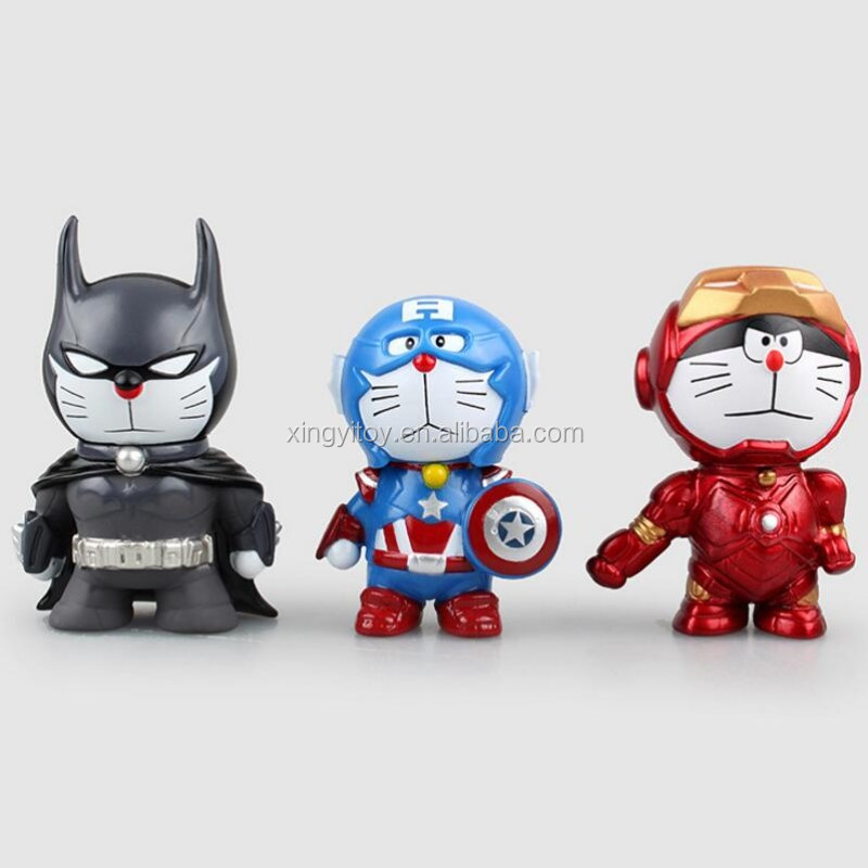 Anime figure 3pcs set Doraemon cos Batman/Captain America/ironman 8cm cute toy action figure