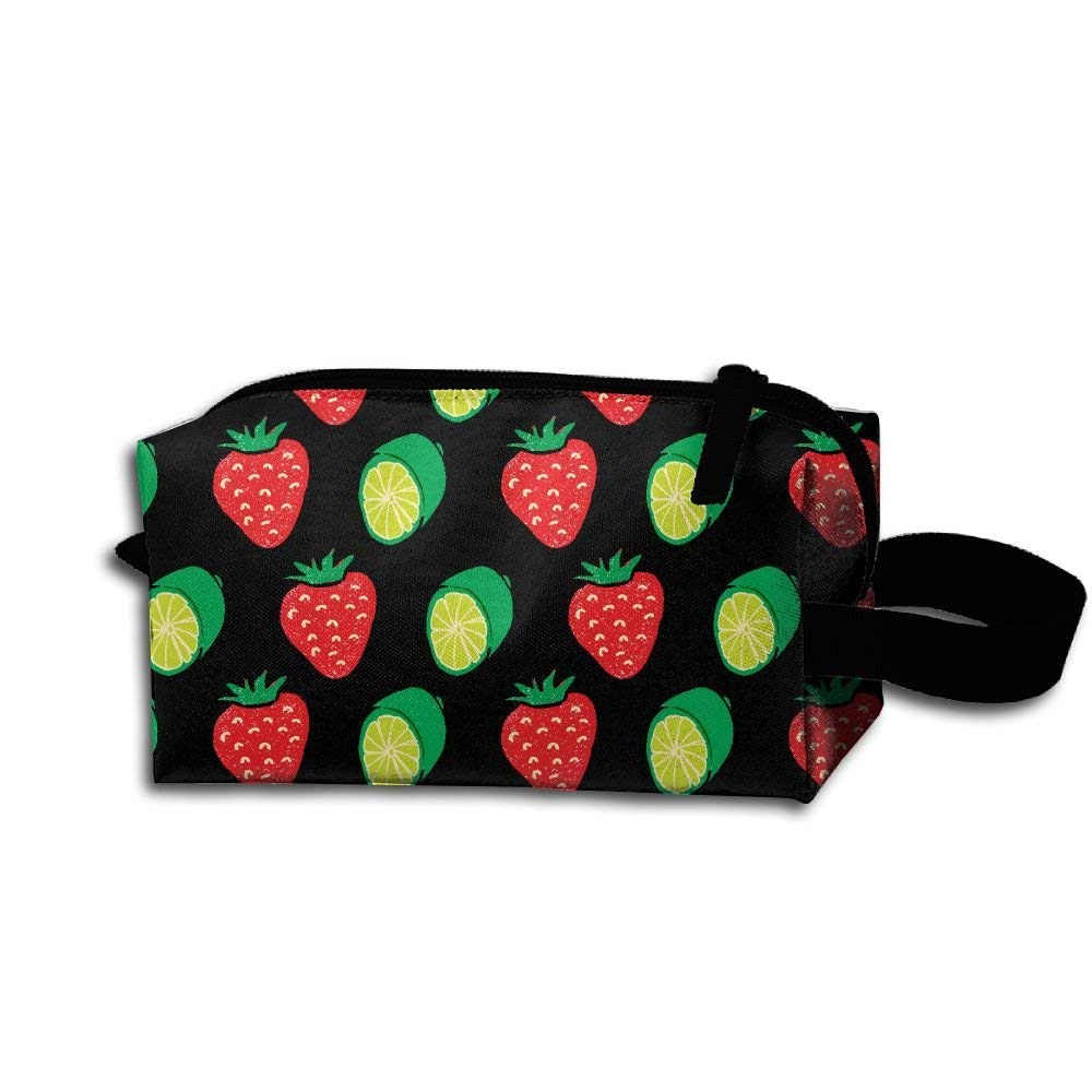 Strawberry Lime Lemon Fruit Pattern Portable Make-up Receive Bag Hand Cosmetic Bag Makeup Bag Sewing Kit Medicine Bag For Home Office Travel Camping Sport Gym Outdoor With Hanging Zipper