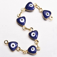 Jewelry accessories handmade brass chain with enamel devil eye charms for bracelet jewelry findings