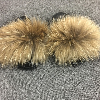 Cute Monster Indoor Shoes Cute Ladies Raccoon Fur Slides Monster Fur Slides Slippers