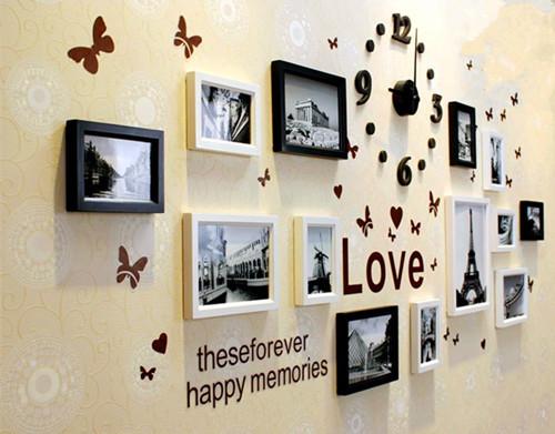 13PCs Wooden Photo Frames Set Black And White Home Decor