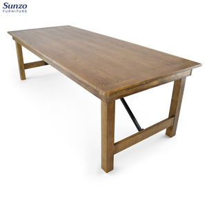 French country solid oak wooden folding vintage farm dining table