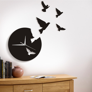 Creative 3D Wall Clock Modern Design Flying Bird Animal Escape Clock Time Flies Wall Art Decor Unique Living Room Decoration