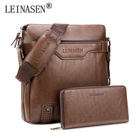 2019 LEINASEN Luxury Brand Retro Men Bag Purse PU Leather High Capacity Waterproof Male Shoulder Crossbody Bag With Wallet bolsa