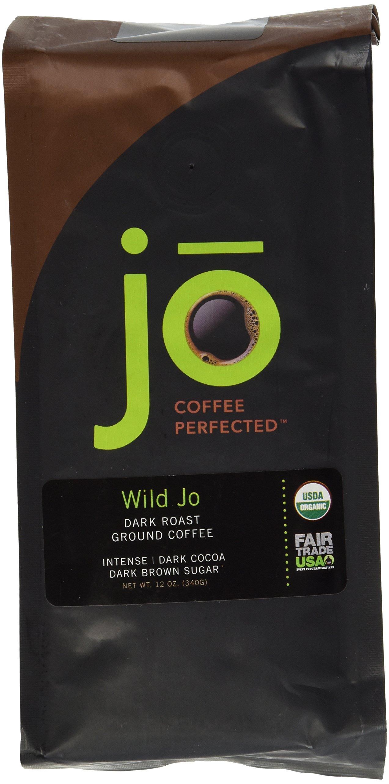 WILD JO: 12 oz, Dark French Roast Organic Coffee, Ground Coffee, Bold Strong Rich Wicked Good Coffee! Great Brewed or Cold Brew, USDA Certified Fair Trade Organic, 100% Arabica Coffee, NON-GMO