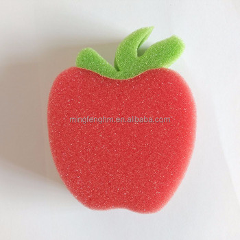 Red apple shape kids bath sponge accept customized