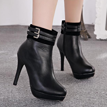 Saa2047 Korean Office Lady Boots Shoes Fashion Side Zipper Fancy Whole Women High Heel Ankle