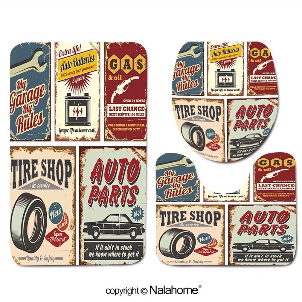 "3 Piece Bath Rug Set Nalahome design-119000002 Vintage car service metal signs and Bathroom Rug(19.29""x31.1"")/large Contour Mat(15.35""x19.29"")/Lid Cover(13.58""x17.51"") For Bathroom(orange)"