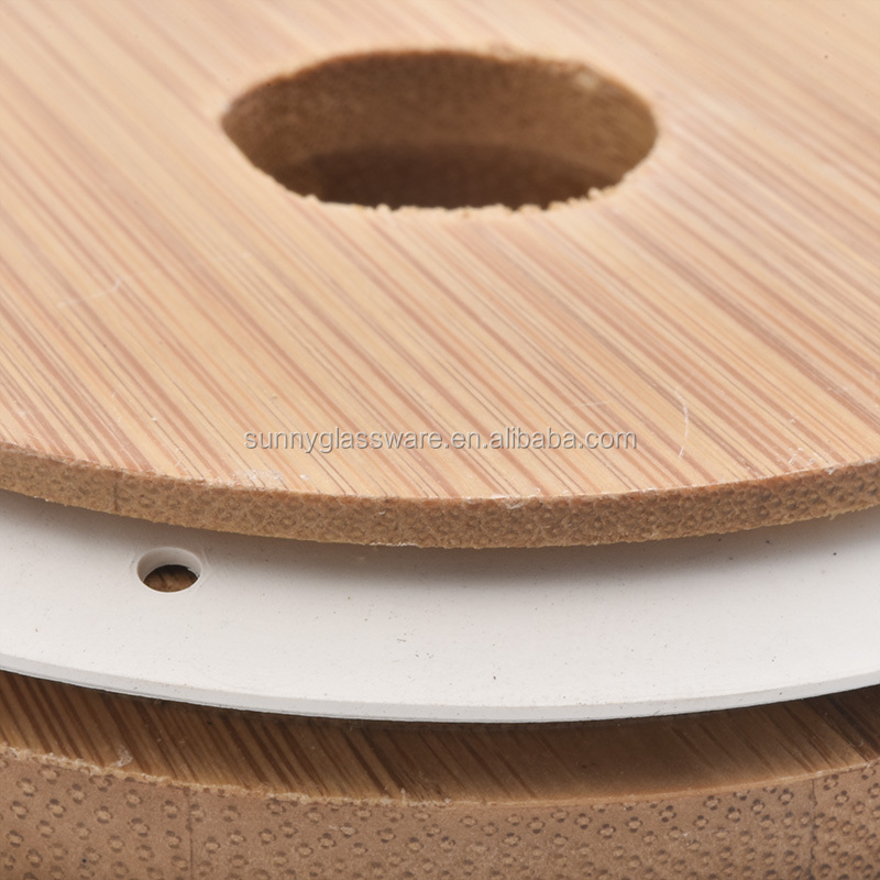 81mm bamboo lid with middle hole