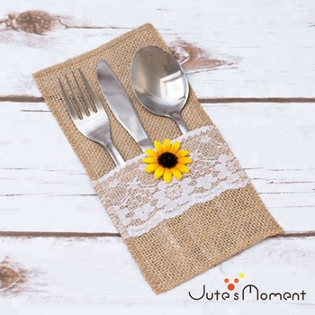 Cutlery Holders Wedding Decor Burlap Pouches Hessian Rustic Lace