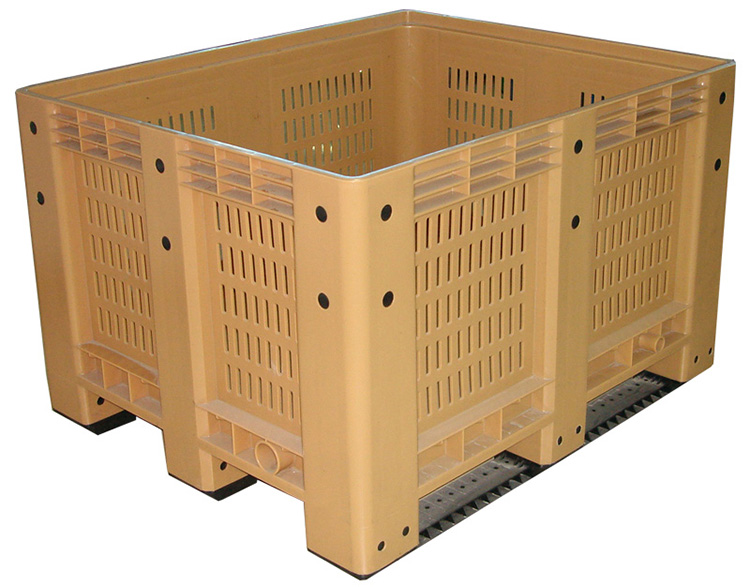 Vented Plastic Pallet Bin with Wheels