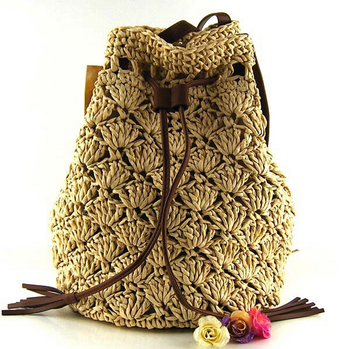 Bz9009 Crochet Tassel Straw Bag Women Cute Beach Backpacks - Buy ...
