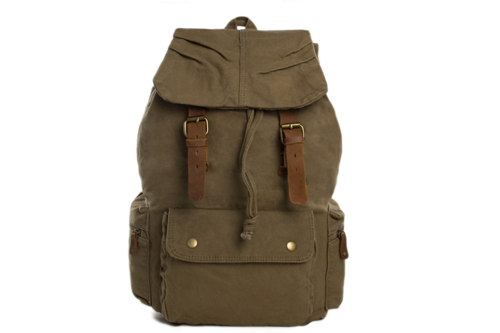 Get Quotations · Army Green Waxed Canvas Backpack Outdoor New Design School  Backpack Canvas with Leather Backpack Rucksack For 023122ee91