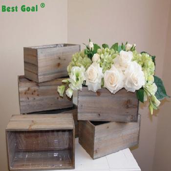 Rustic Planter Flower Pot Square Wood Vases Wedding Table Decor Wooden Bo Vase Product On