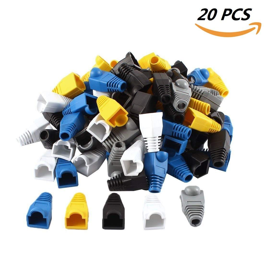 EVERMARKET Strain Relief Boots Soft Plastic Ethernet RJ45 Cable Connector Boots Cover (20 PCS)