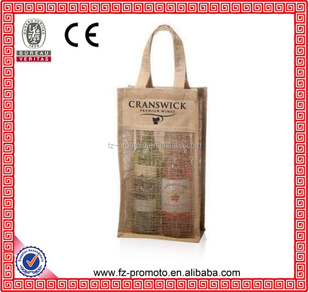 two Jute Wine Bottle Holder/jute Wine Bottle Bag Wholesale, High Quality Jute Wine Bottle Holder