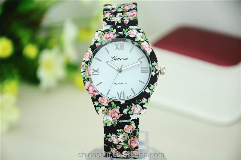 ef4e59b1cf9 Platina GENEBRA Rose Flor Relógio de Senhoras e Meninas Floral Relógios Das  Mulheres relógio de Pulso