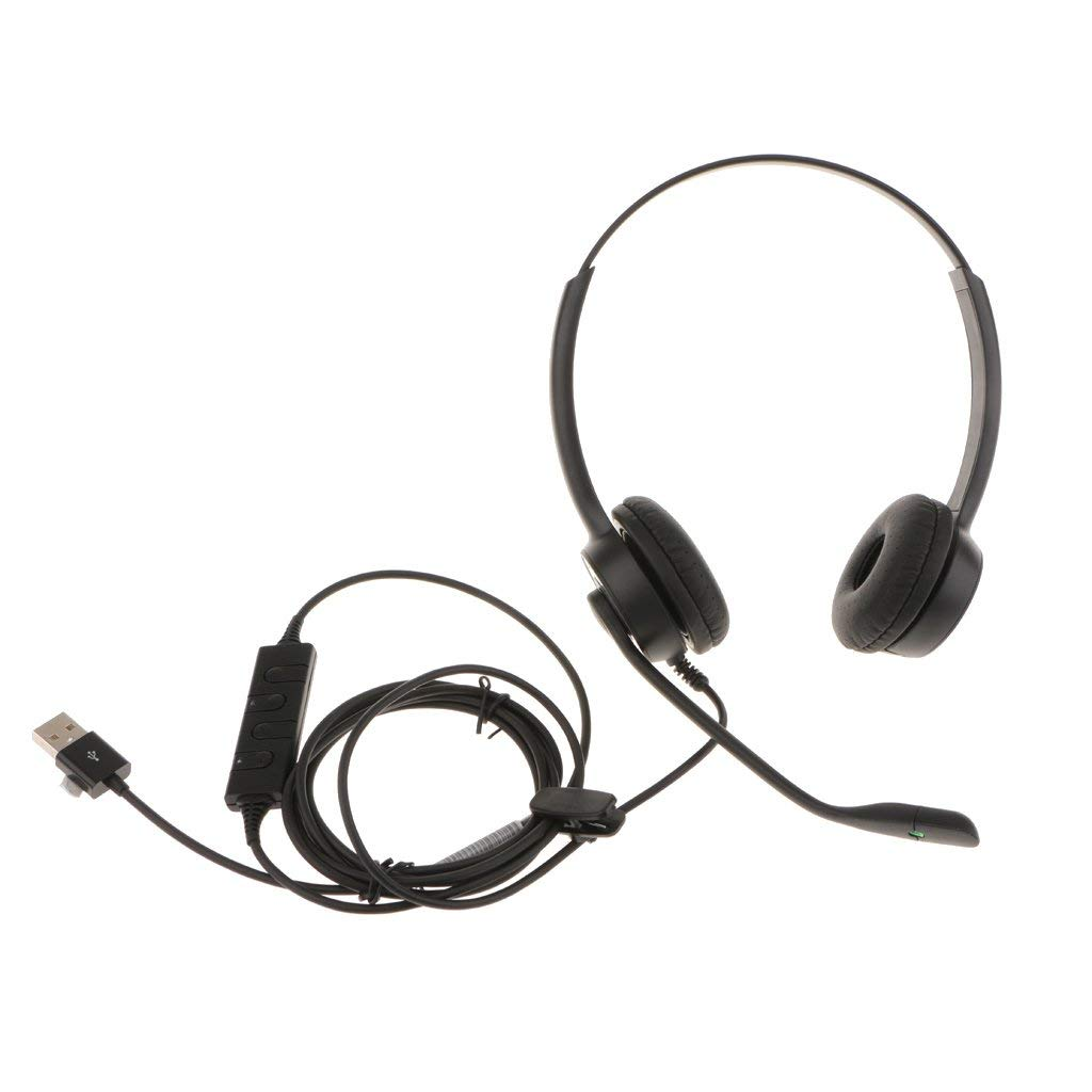 MonkeyJack USB Call Center Binaural Telephone Headset With Mic For Cordless Phones