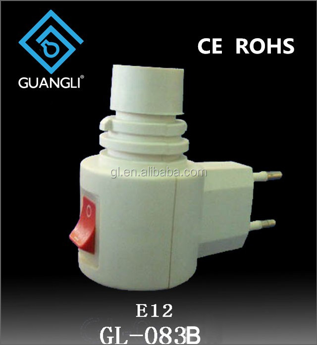 083B CE ROHS approved switch night light E12 vertical socket electrical plug lamp holder European 7W or 15W 220V 240V