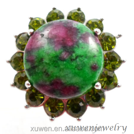 crystal 316l stainless steel ruby zoisite volcanic stone jewelry