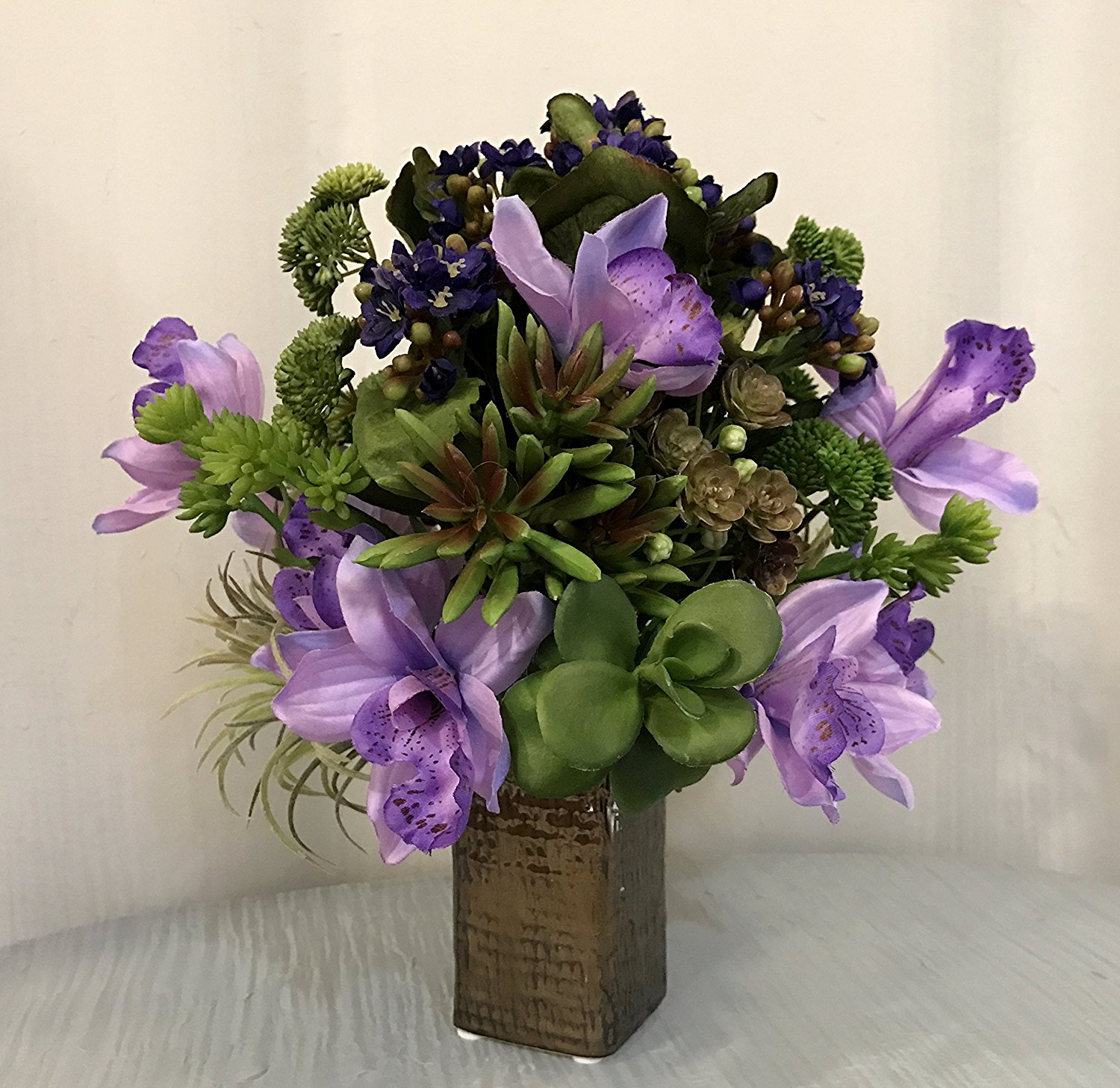 Buy Artificial Kalanchoe Orchid Plant And Succulent Arrangement In Weave Textured Bronze Ceramic Vase Purple And Green Office Home Decor Accent For Gift Handcrafted At The Floral Mart In Cheap Price On