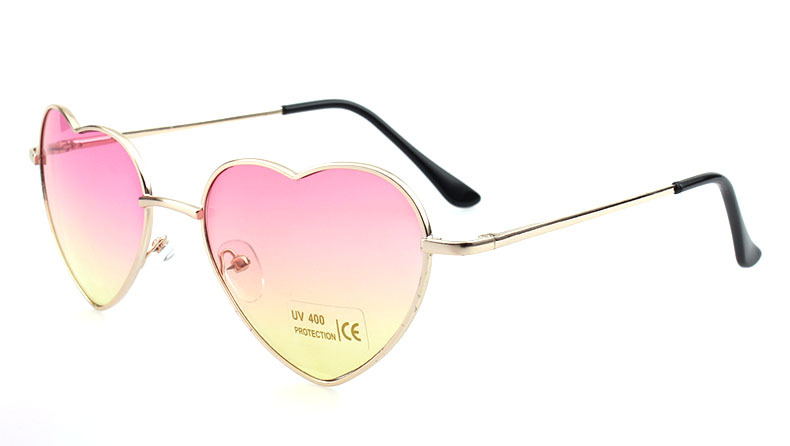 8bca251aa3c74 Heart Shaped Sunglasses Women Pink Frame Metal Reflective Mirror Lens  Fashion Luxury Sun Glasses Round Face