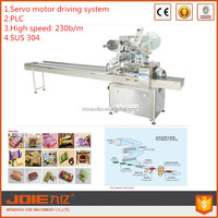 JOIE servo motors driving system automatic grade food packaging and labeling applicator pillow wrapping machine