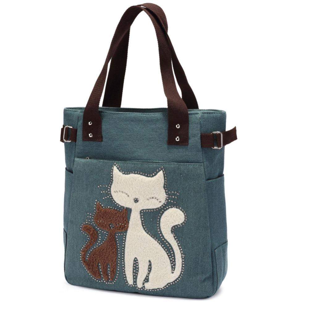 Fashion Women Canvas Bag Handbag Casual Large Tote Bag Cute Cat Brand  Designer L c27246d5d4378