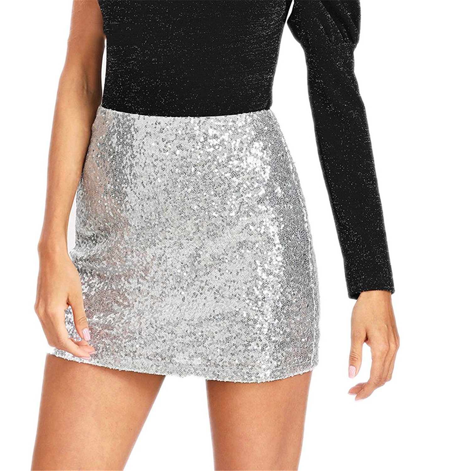 bc5f519f Get Quotations · Women's Elegant Party Sexy Club Skirt New Metal Sequin  Skirt Silver Pencil Jacket Skirt