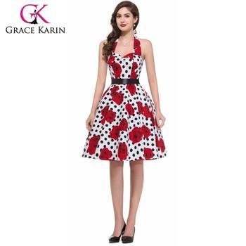 New Arrival Grace Karin Halter Cotton Retro Pinup 50s Vintage Dress CL6075 22