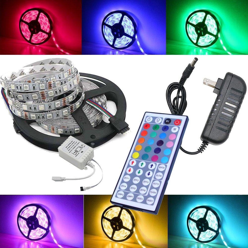 Cheap led strip with remote find led strip with remote deals on get quotations magic beam 5 meter 164 ft led strip lighting full kit 5050 rgb 150 led mozeypictures Choice Image