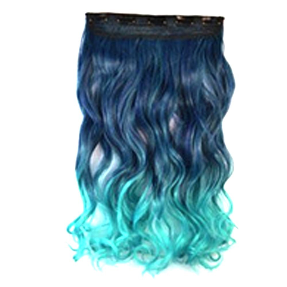 Wigico New Two Tone One Piece Long Curl/curly/wavy Synthetic Thick Hair Extensions Clip-on Hairpieces(black to dark blue) //Fashion Sexy Two Tone Long Curl/curly/wavy Clip in Hair Extensions Pieces Wig Girls, black to dark blue