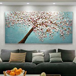 New Chinese Style 3D Embossed Relief Stone Decorative Paintings Printed on Canvas for Living room Wall Decor