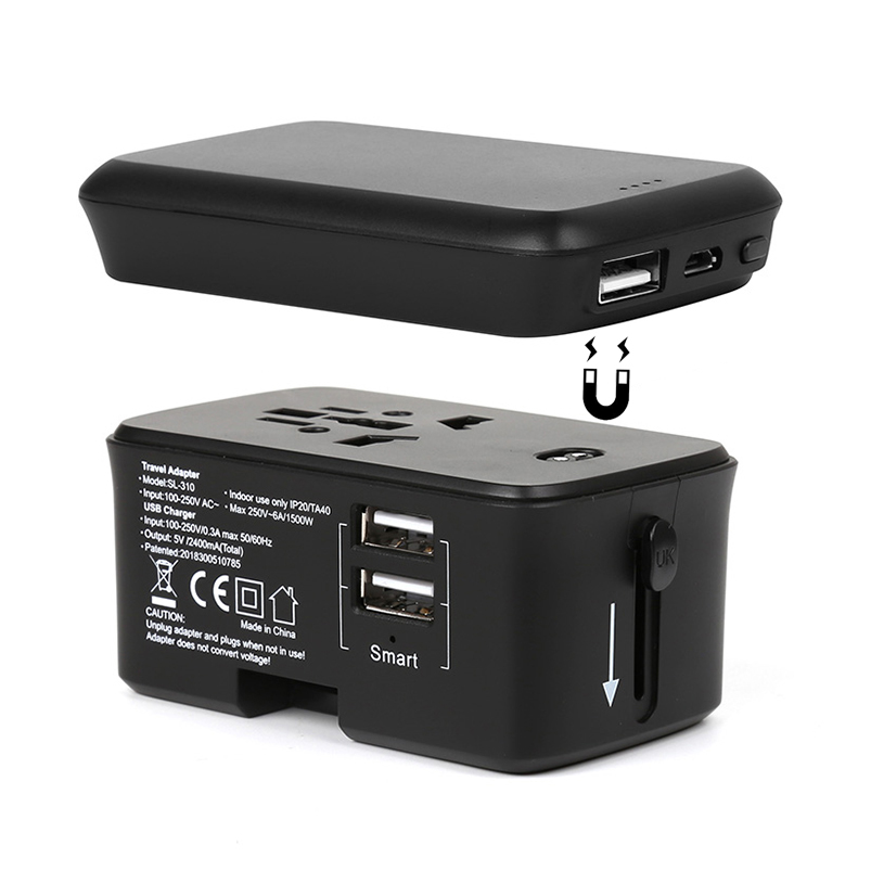 Factory hot sales patents protected product 5V 2.4A dual usb 4000 mAh capacity AC DC travel power bank <strong>adapter</strong>